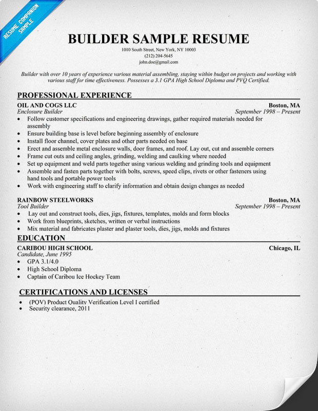 builder resume sample - Sample Resume Builder