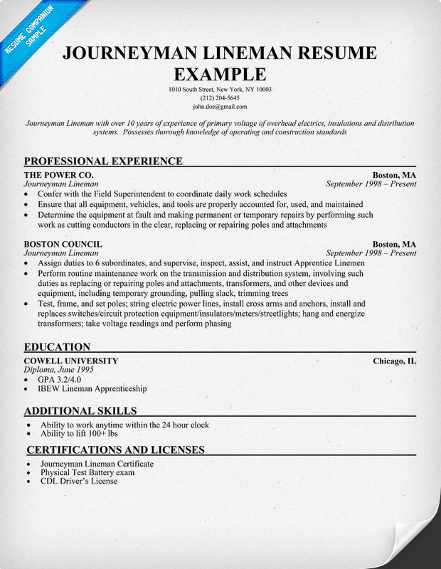 Journeyman Lineman Resume Sample