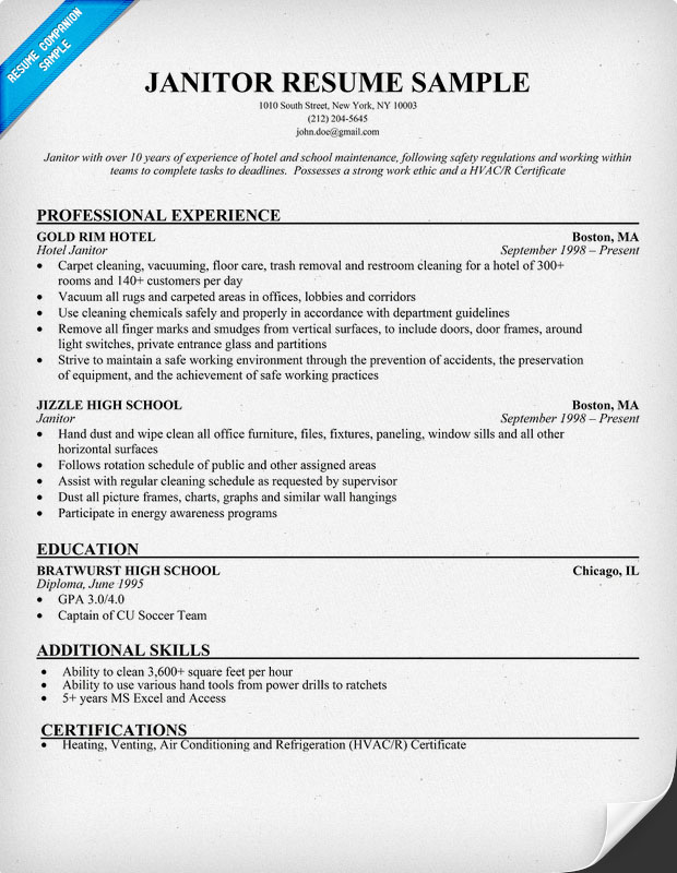 resume format  resume samples janitorial positions