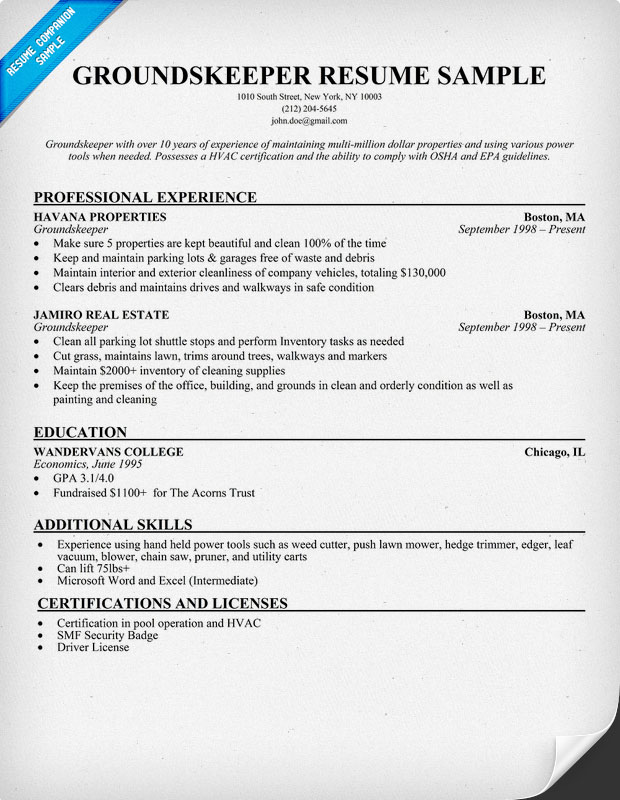 Groundskeeper Resume Sample
