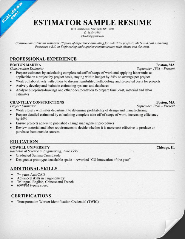 Estimator Resume Sample