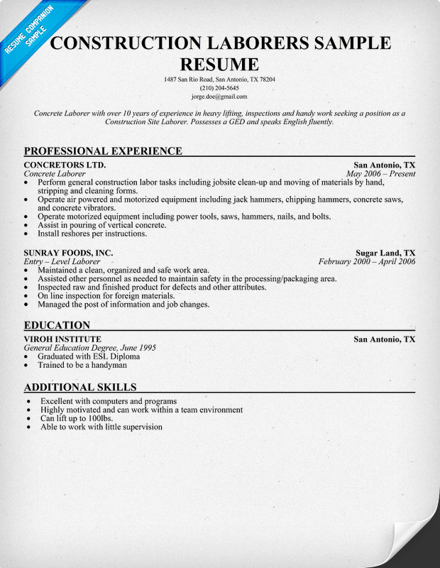 Construction Laborer Resume Sample