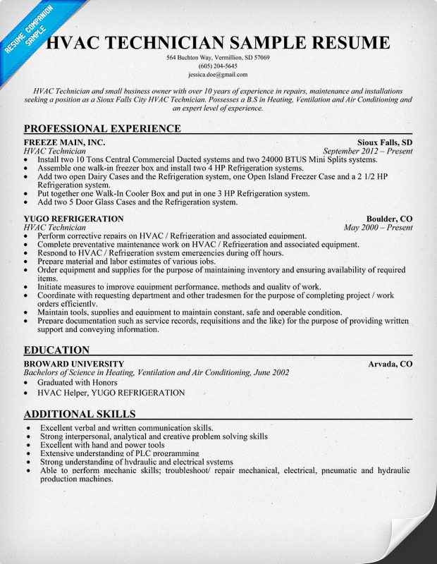 HVAC Technician Resume Sample