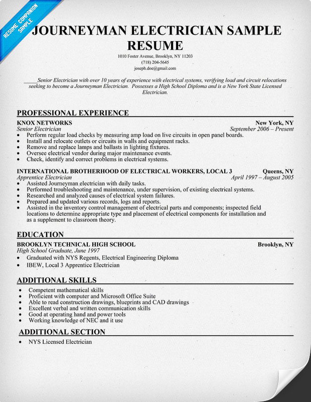 master electrician resumes - Journeyman Electrician Resume