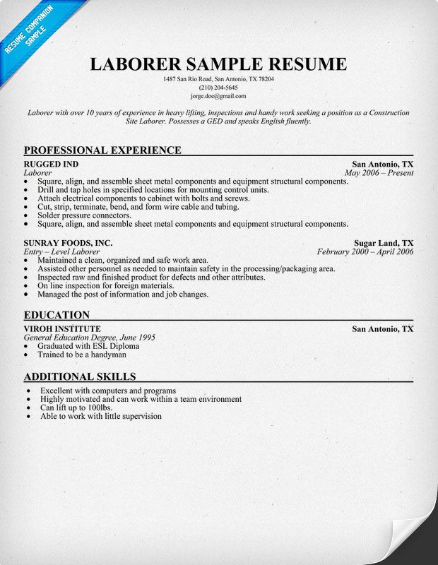 Labor Worker Resume  BesikEightyCo