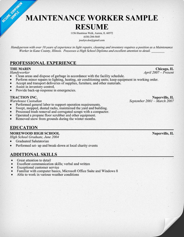 Maintenance Worker Sample Resume