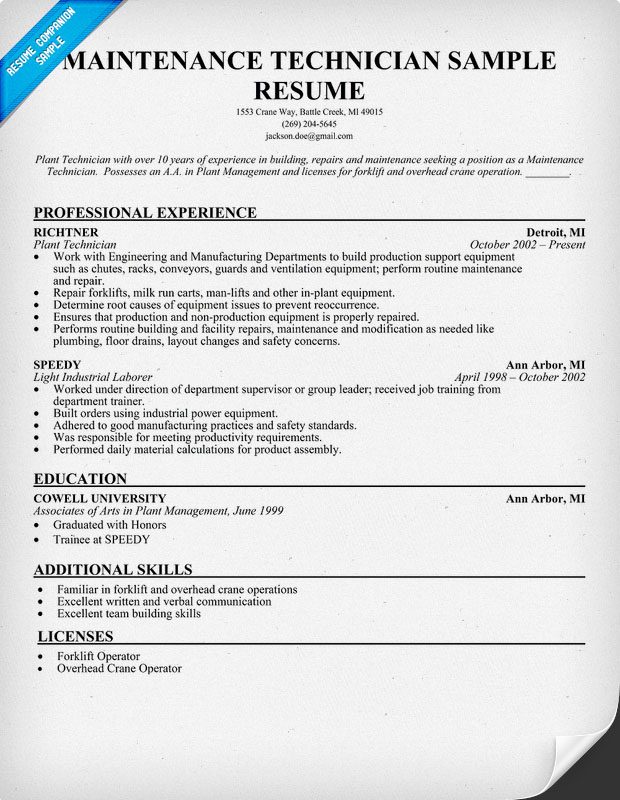 Sample Maintenance Technician Resumes