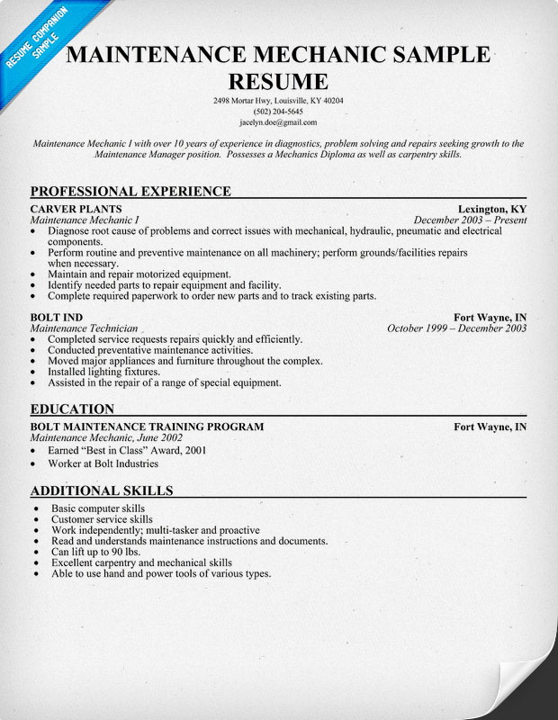 Maintenance Mechanic Resume Example Poly: Diesel Mechanic Resume ...