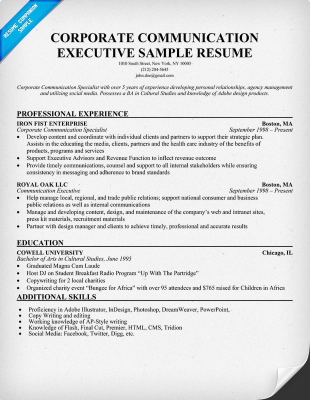 corporate communication cover letter