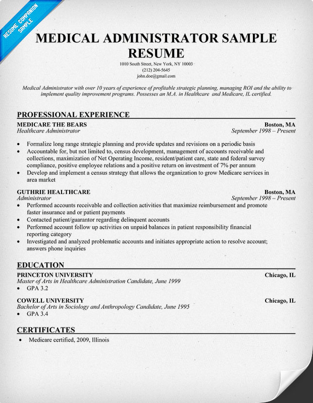 pics photos sample resume for medical administrative