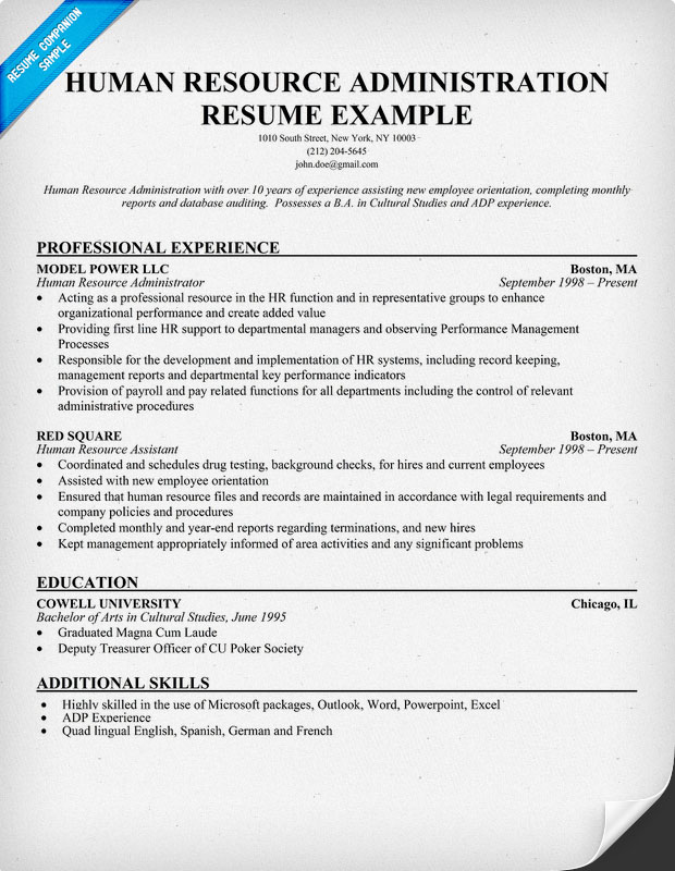 Human Resources Administration Resume Sample