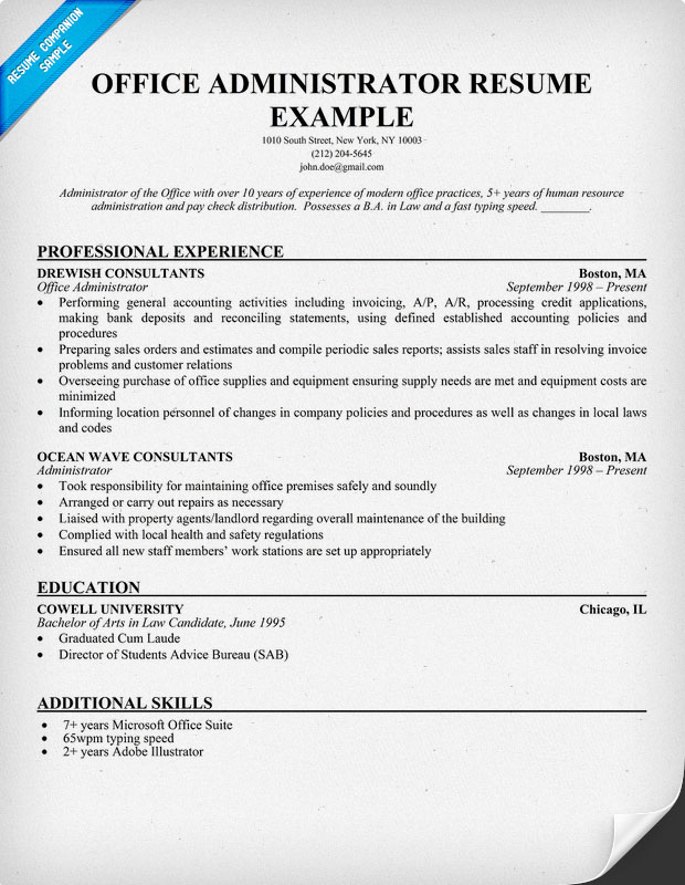 Office Manager Resume Sample Free Resume Templates Examples Top Resume  Examples Sample Resumes Cover Letter Sales  Office Administrator Resume