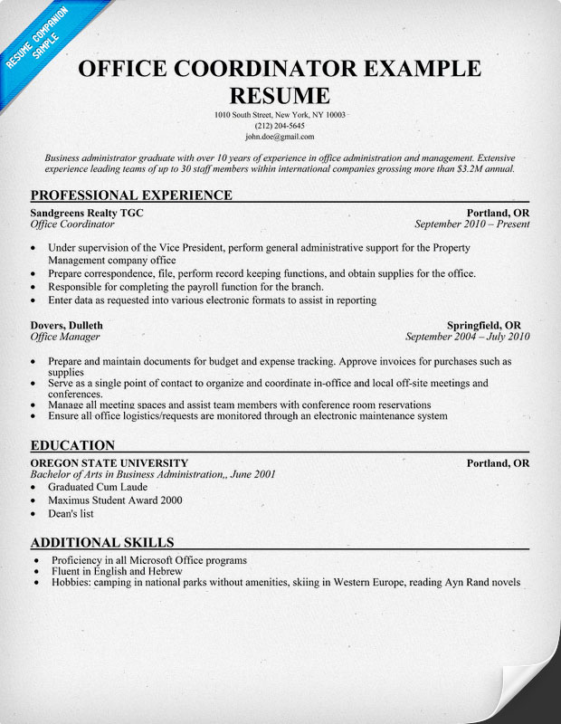 Office Coordinator Resume Example