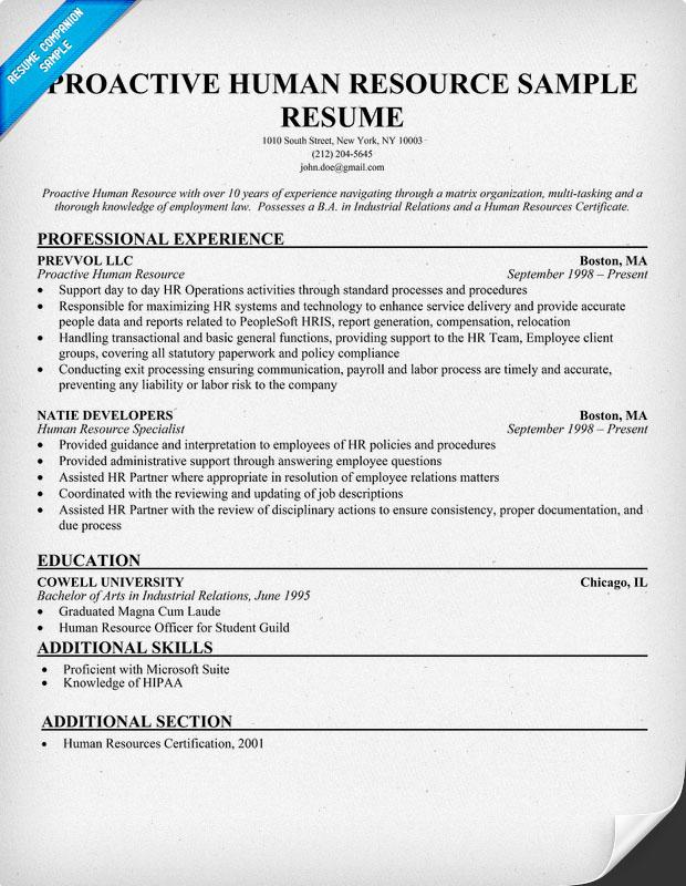human resource resume sample human resource resume sample