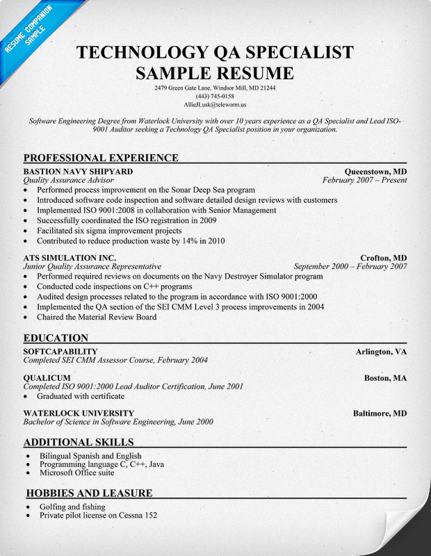 Resume Sample Quality Assurance Specialist Resume