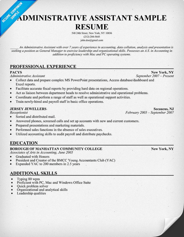 Resume example administrative assistant