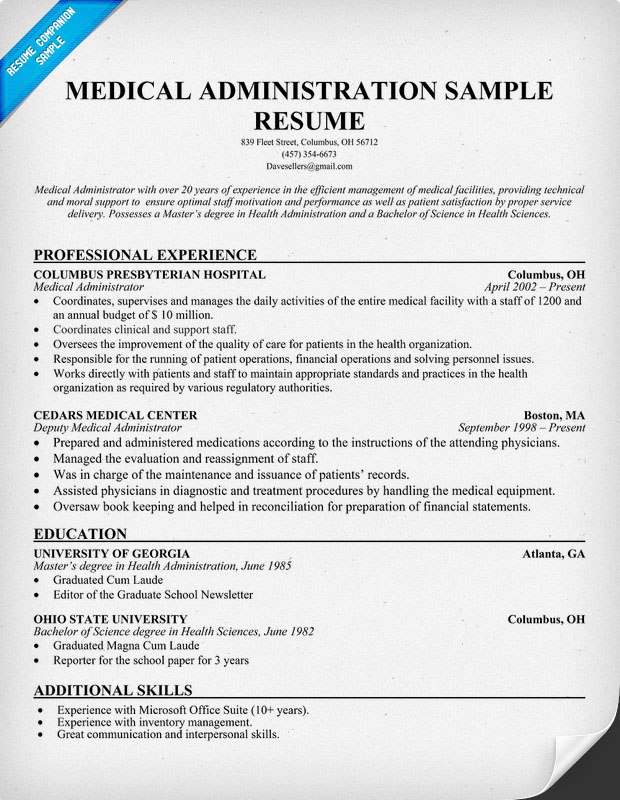 image medical office administration resume examples download