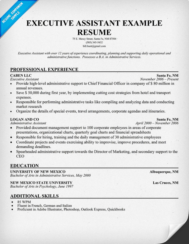 Executive Assitant Resume Sample