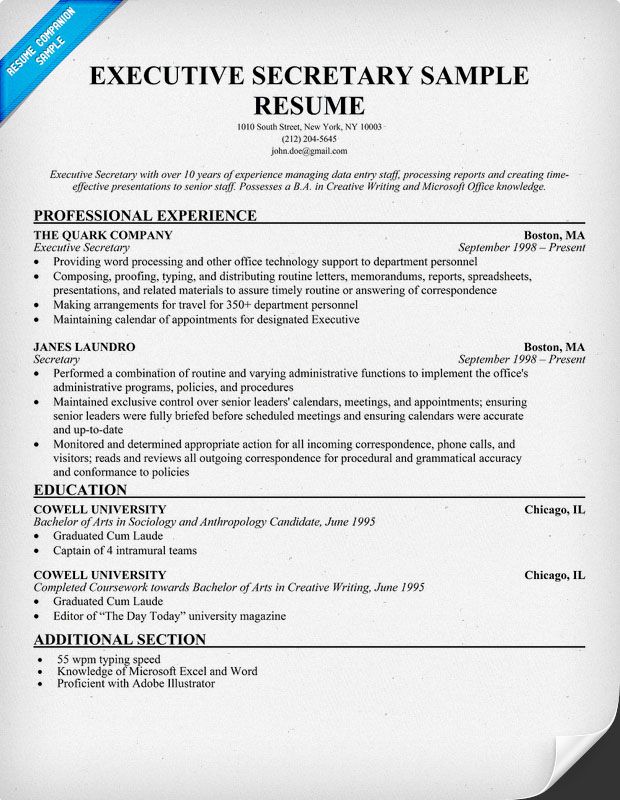 Executive Secretary Sample Resume