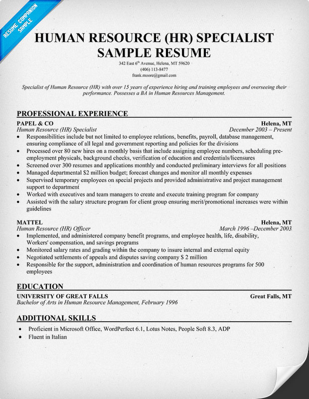 Human Resources Specialist Resume Sample