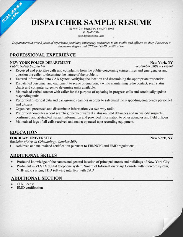 Example Resume Sample Resume Dispatcher