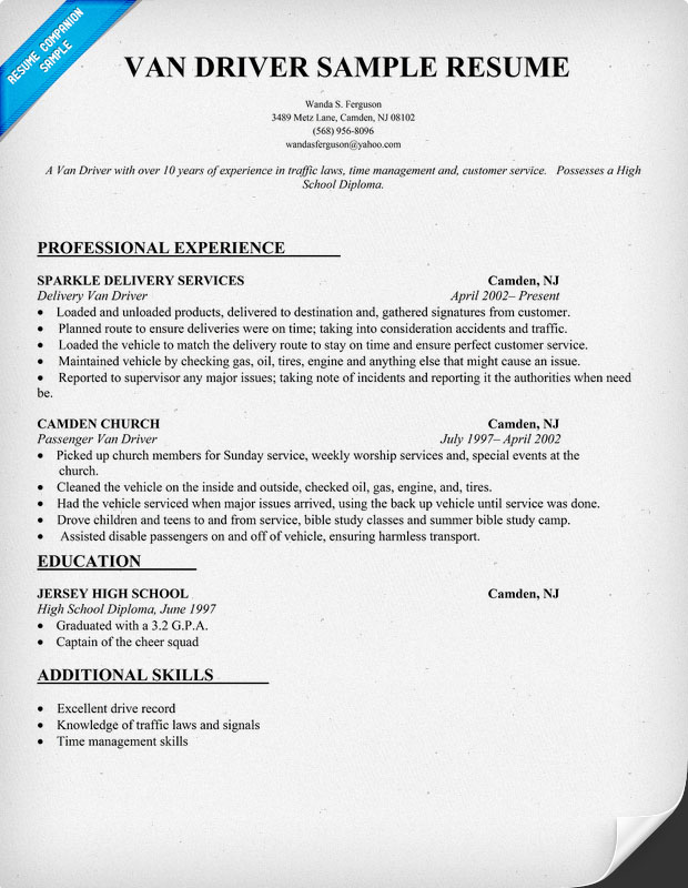 Van Driver Resume Sample