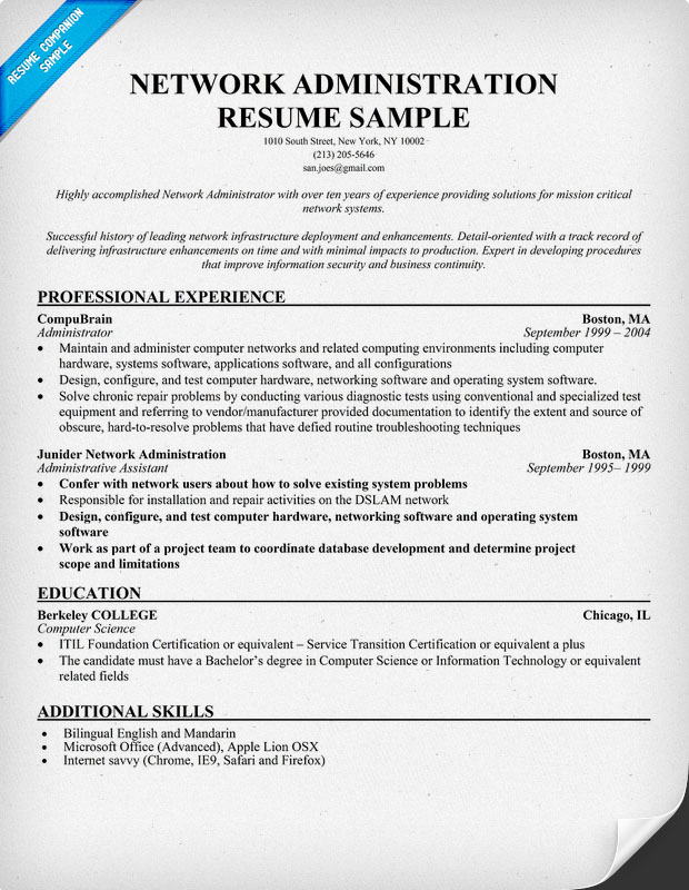 Computer systems resume job criteria network Resume Template Entry Level  Network Engineer Sample Networking Resume Resume