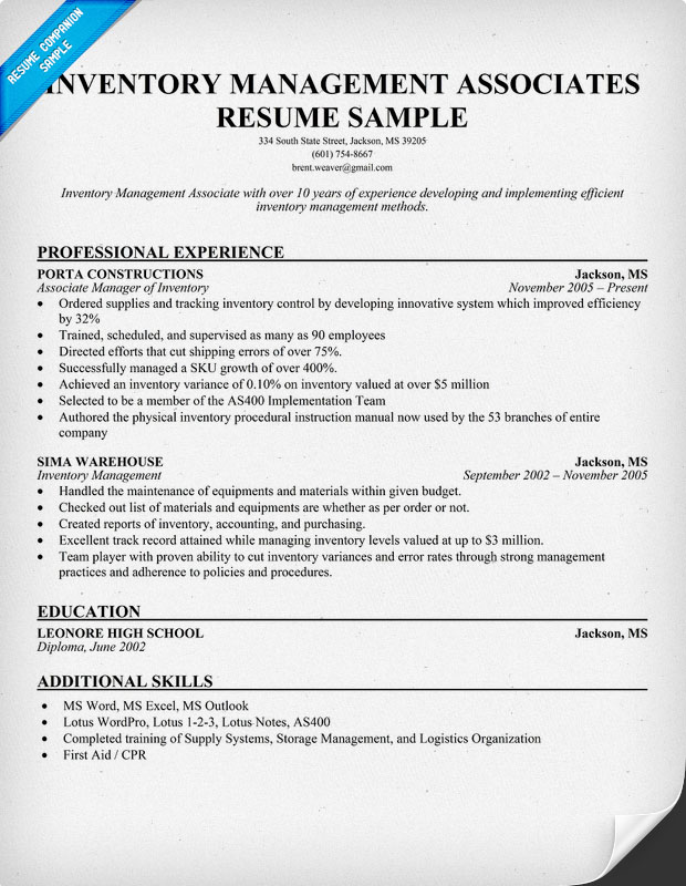 warehouse logistics specialist resume sample inventory