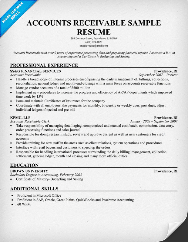 sample resume accounts payable sample resume accounts payable receivable template