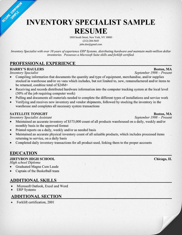 Inventory Specialist Sample Resume