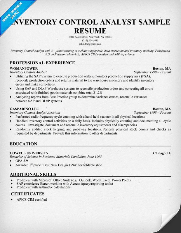 Inventory Control Analyst Sample Resume