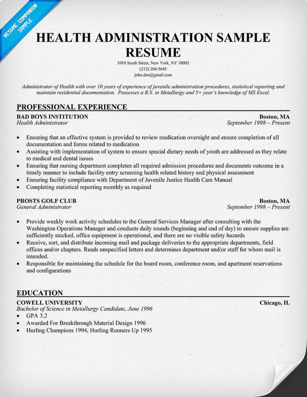Health Administration Resume Sample