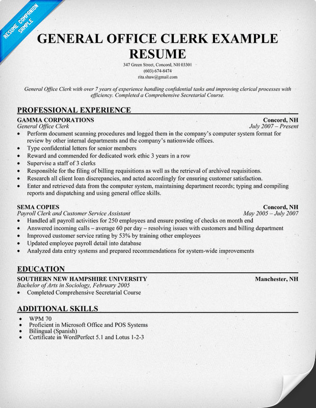 Example resume office clerk resume sample for Sample objectives in resume for office staff