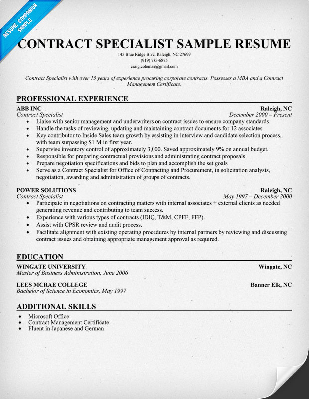 contract specialist resume sample