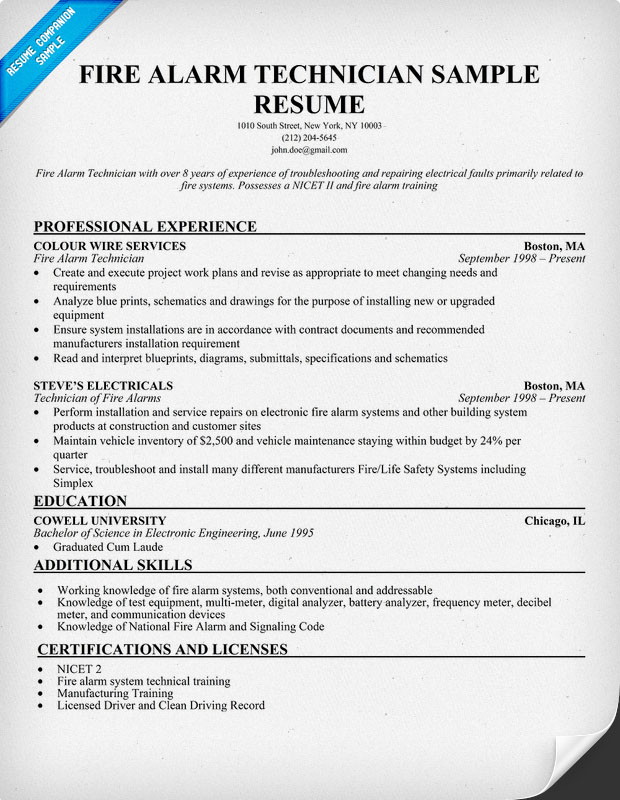 Fire Alarm Technician Resume Sample