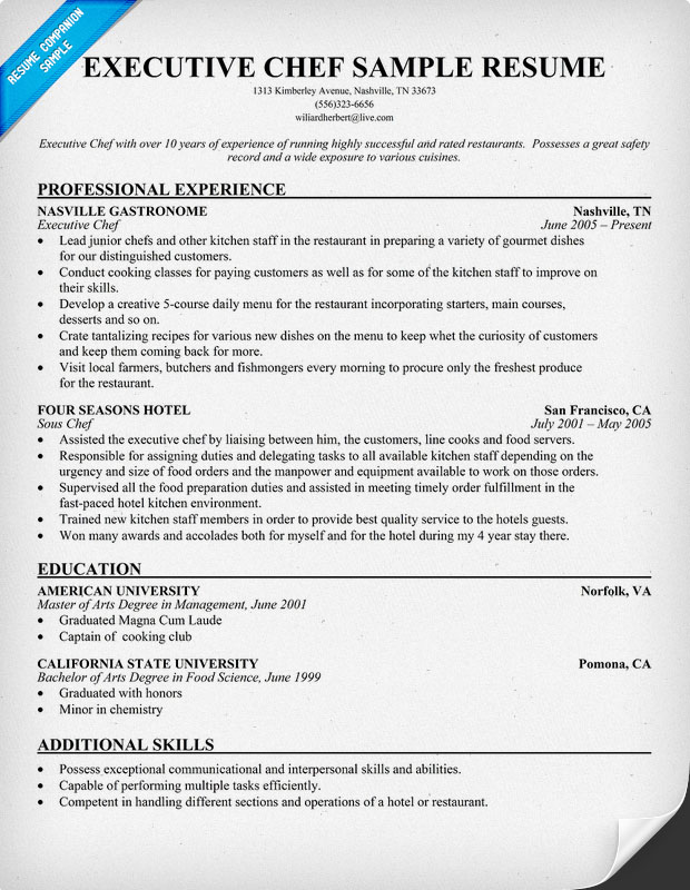 Chef Resumes Examples] Chef Resume Example Culinary Arts Sample