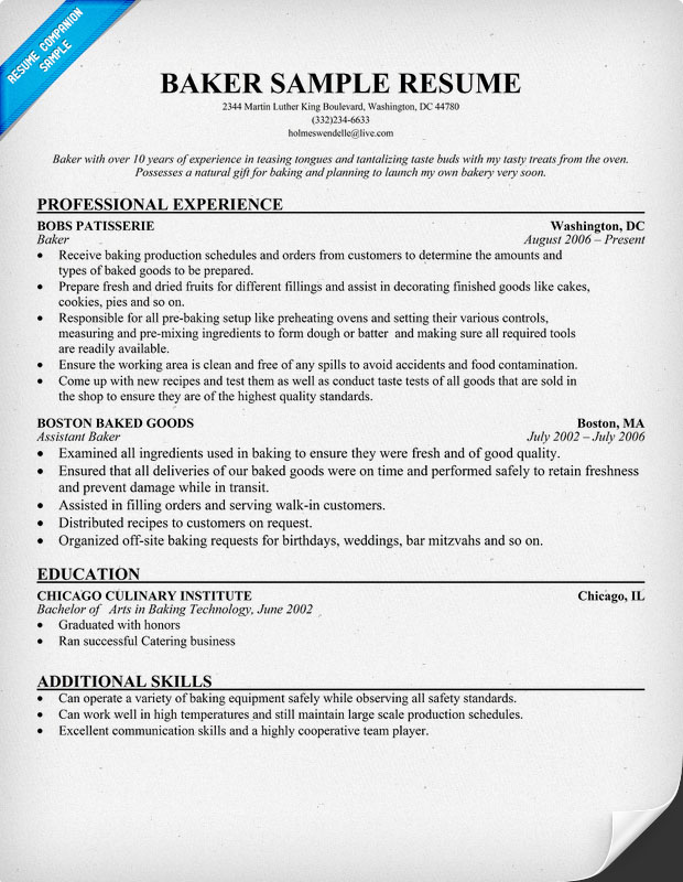 Sample Baker Resume