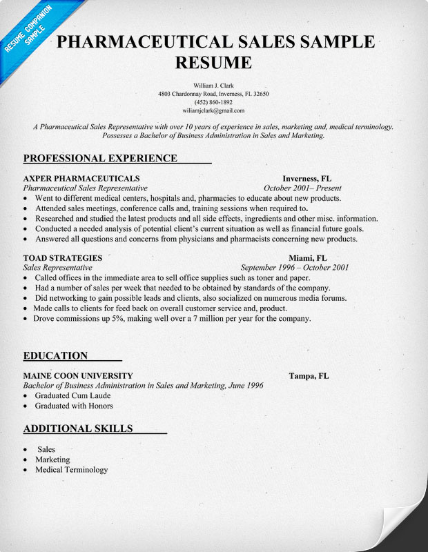 pharma sales resume - Pharmaceutical Sales Resume Example