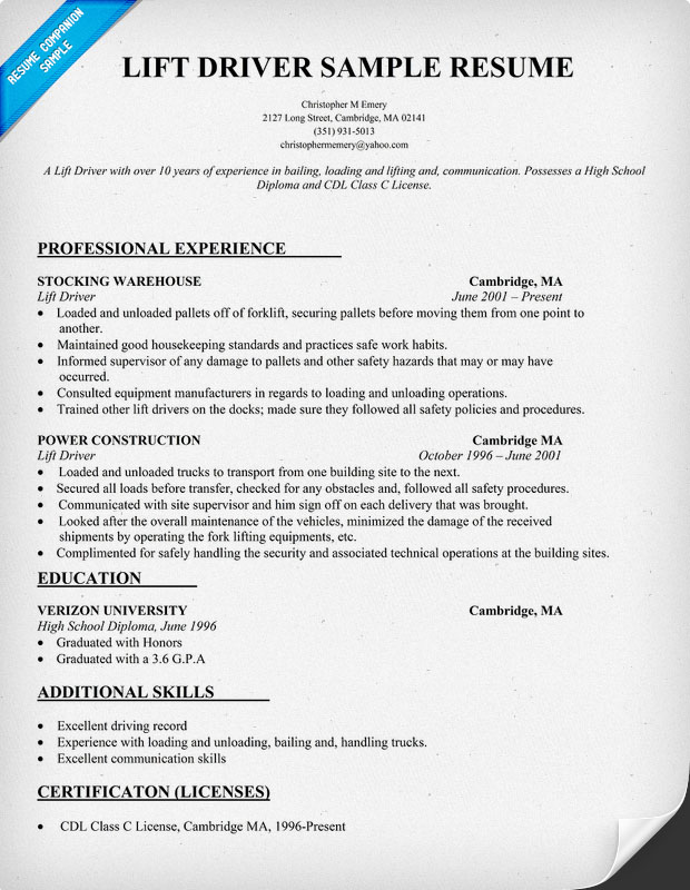 Lift Driver Resume Sample