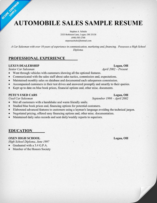 sample car salesman resume - Good Sales Resume Examples