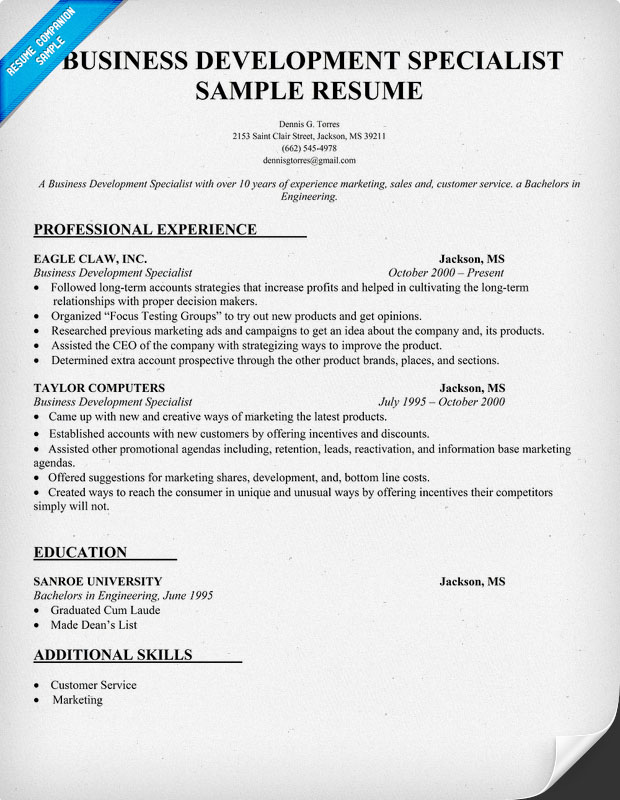 exle resume sle resume business development specialist