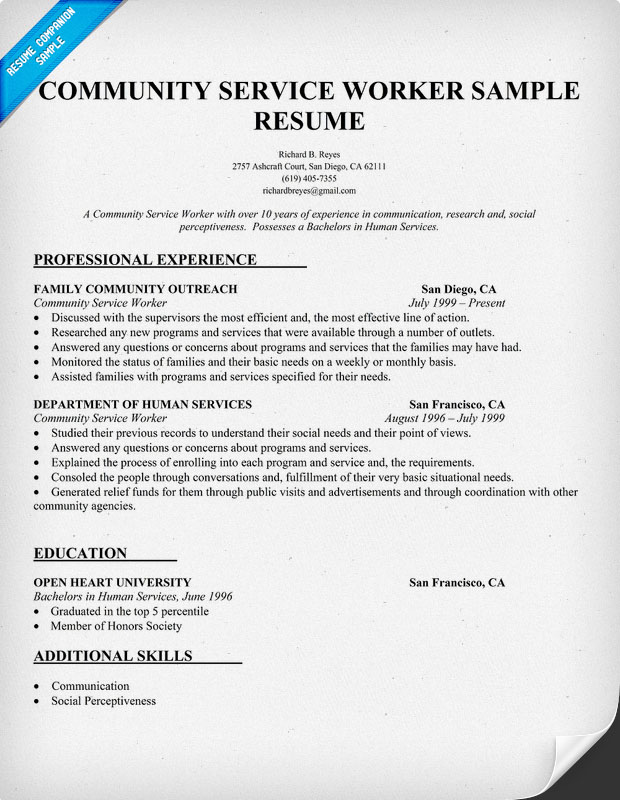 Sample community service resume