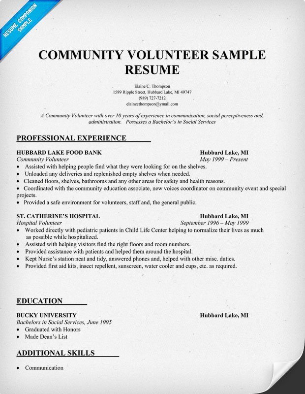 Community Volunteeer Resume Sample