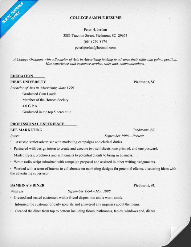 exle resume exle resume of college student