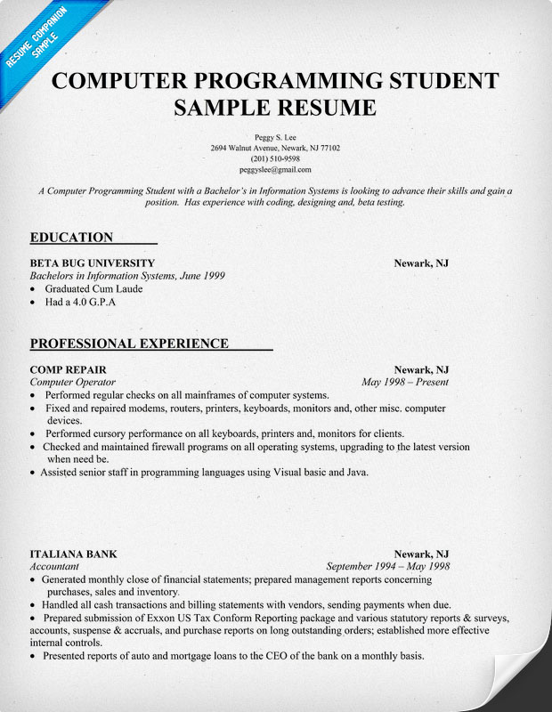 Sample Resume Fresh Graduate Programmer - Template