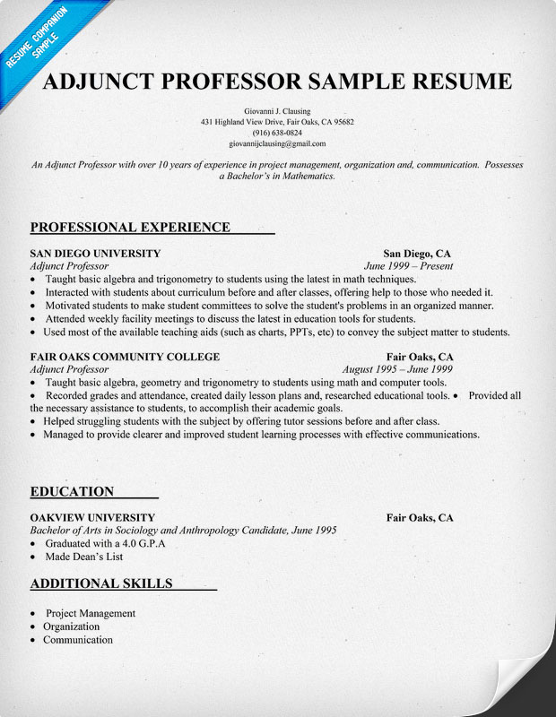 Adjunct Professor Resume Sample