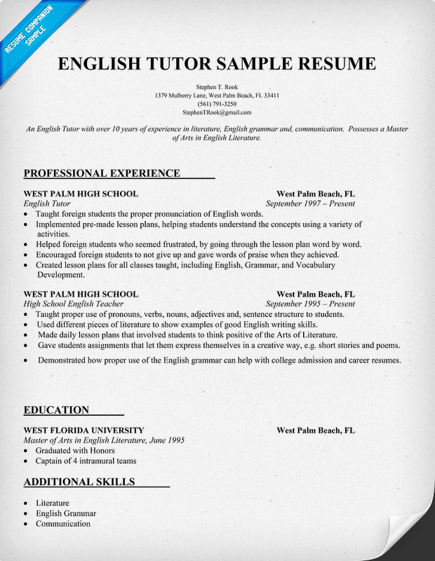 Resume For English Tutor English Tutor Cv Sample English Tutor Resume Sample
