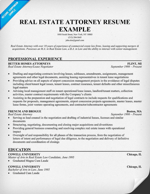 Real Estate Attorney Resume Sample