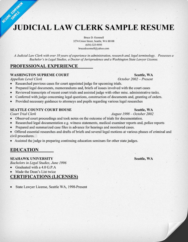 Judicial Law Clerk Resume Sample