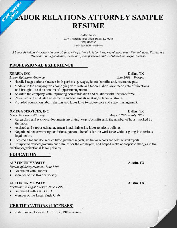 Lawyer resume examples